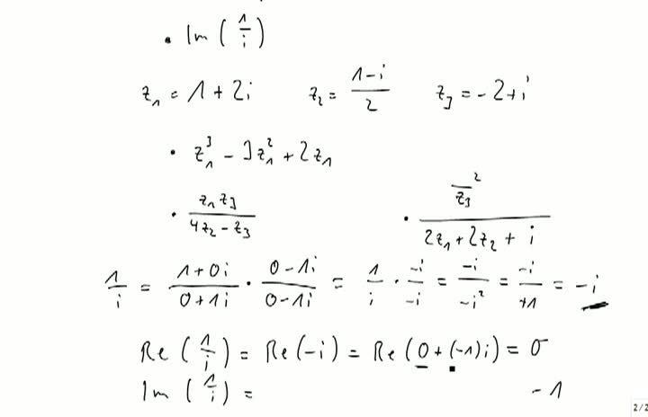 M2 2013-10-04 10 Komplexe Zahlen, Rechenbeispiele