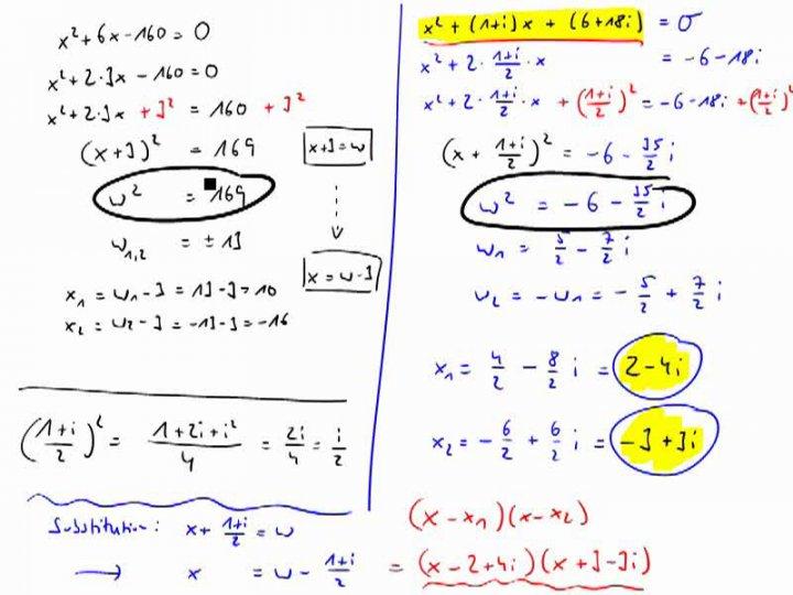 M3 2017-09-27 10 Quadratische Gleichungen mit komplexen Koeffizienten, Teil 2