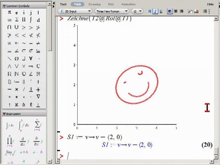 M2 2013-12-04 12 Vereinfachte Zerlegung von Isometrien, zweites Beispiel in Maple