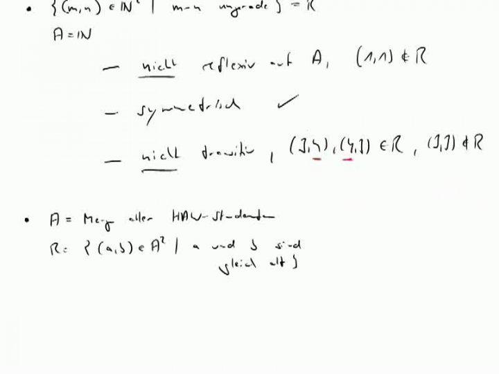 M1 2013-11-27 05 Reflexivität, Symmetrie, Transitivität - weitere Beispiele