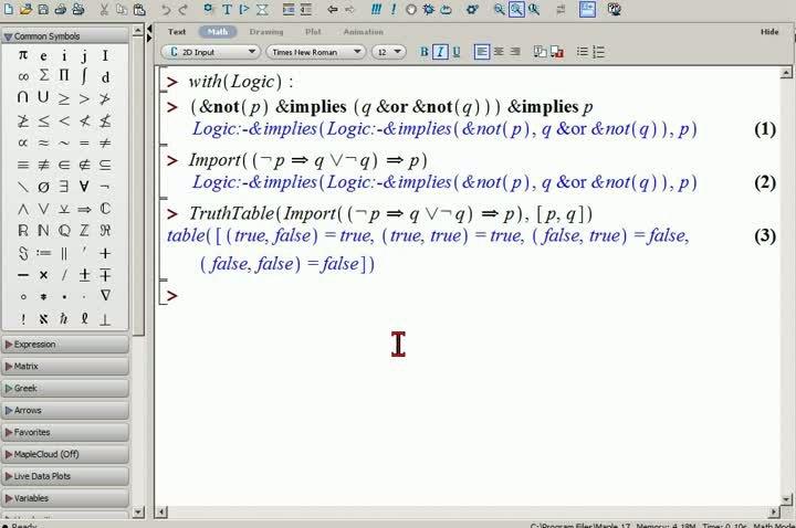 M1 2013-10-09 11 Aussagenlogik in Maple und Wolfram Alpha
