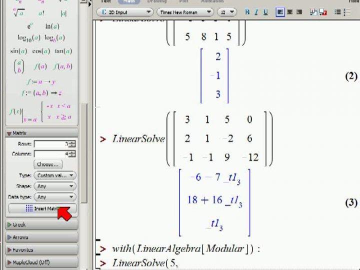 M2 2013-11-15 02 Gauß-Verfahren für lineare Gleichungssysteme, noch mehr Beispiele und Maple