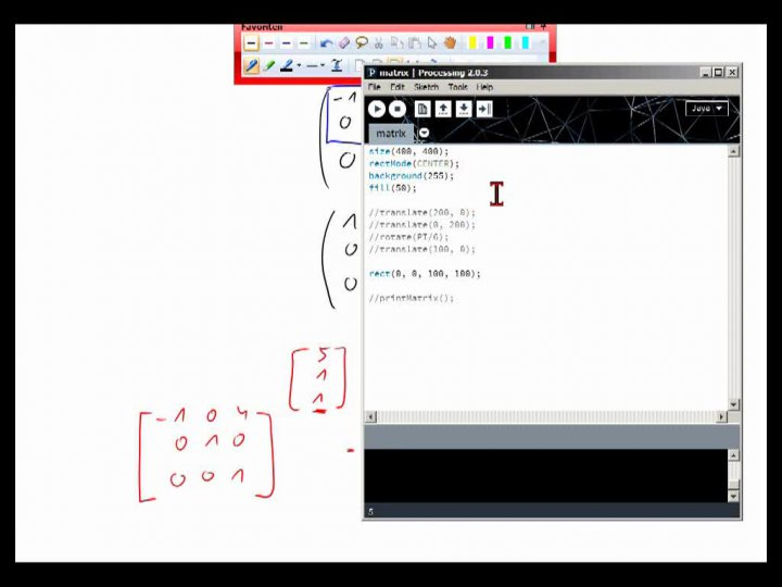 M2 2013-12-06 03 Anwendung - homogene Koordinaten in Processing
