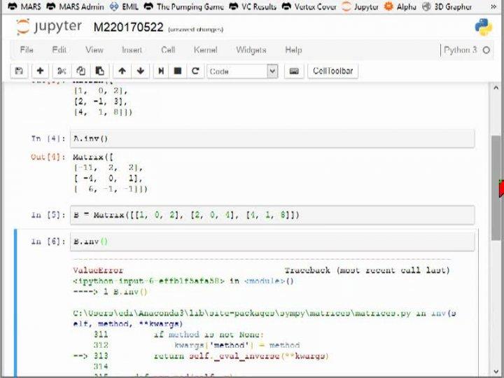 M2 2017-05-22 04 Invertieren von Matrizen in SymPy