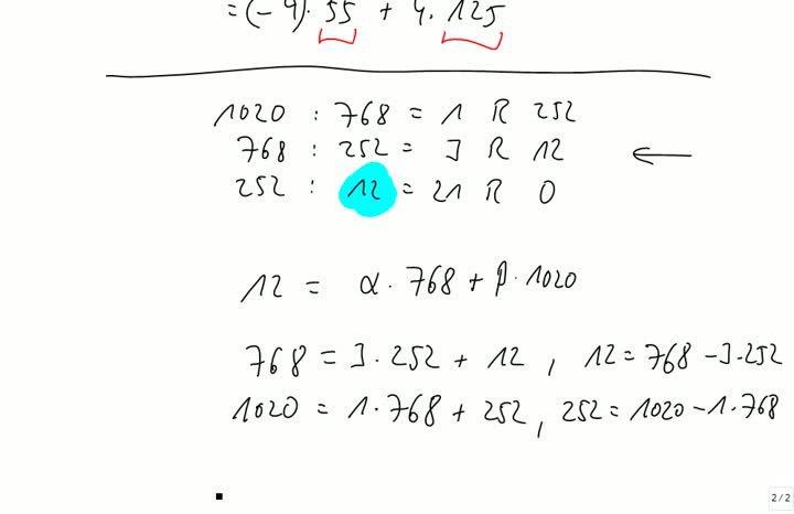 M2 2013-09-18 05 Erweiterter euklidischer Algorithmus
