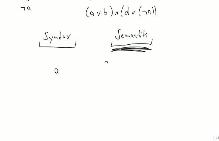 M1 2013-10-09 01 Aussagenlogik, Semantik von Negation, Konjunktion und Disjunktion