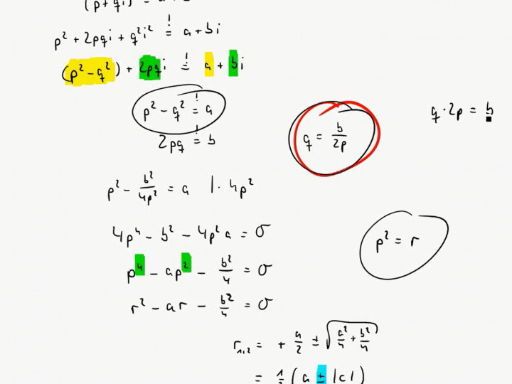 M3 2017-09-27 07 Wurzeln aus echt komplexen Zahlen