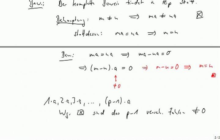 M2 2013-10-11 01 Kleiner Satz von Fermat