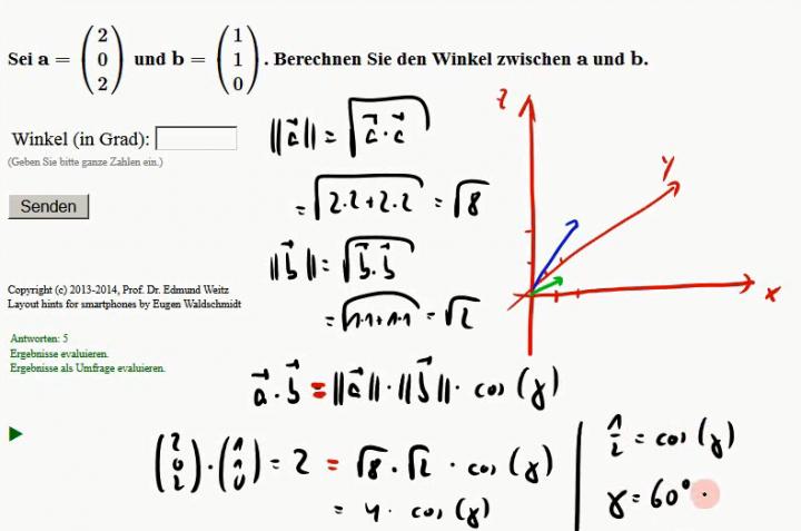 M2 2014-11-10 01 Der Winkel zwischen zwei Vektoren