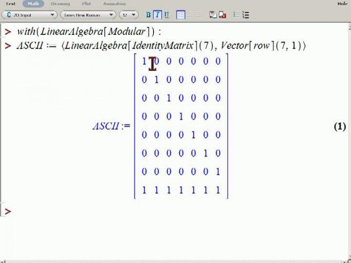 M2 2013-11-06 09 Anwendung - Prüfbit im ASCII-Code in Maple
