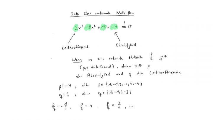 EM 2017-07-19 01 Satz über rationale Nullstellen / Lemma von Gauß